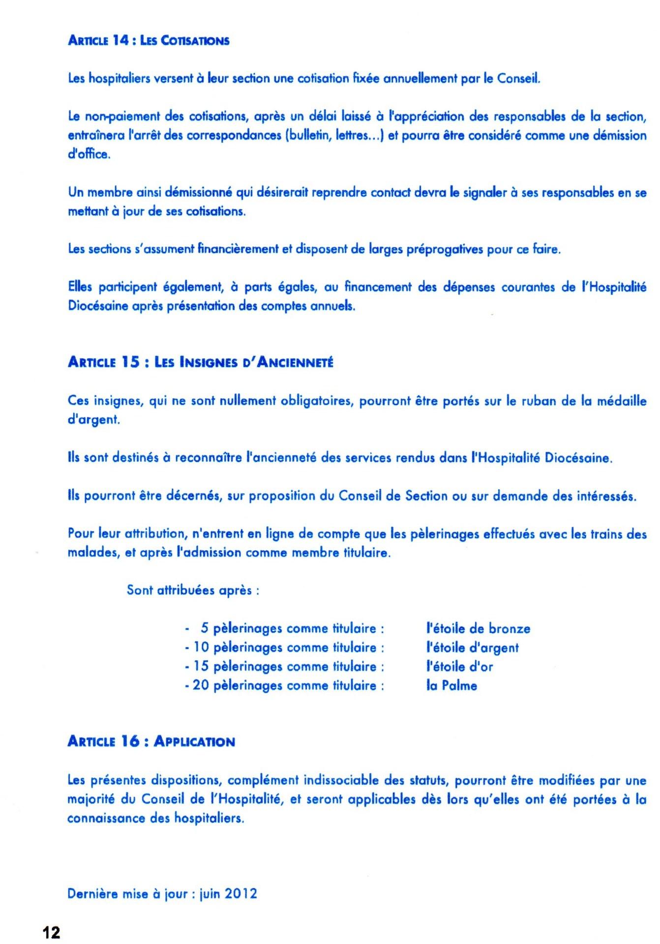 statuts et R.I 12