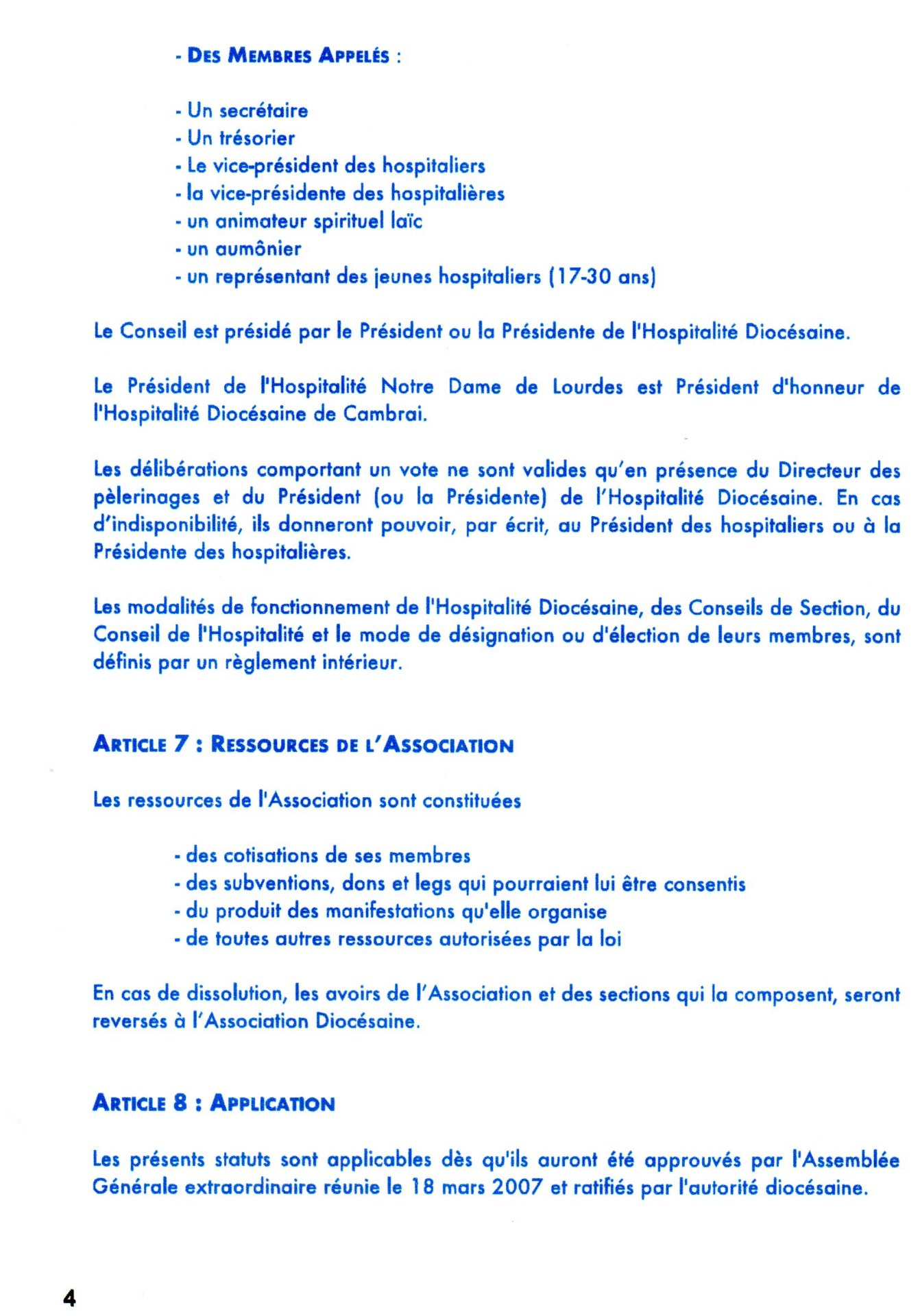 statuts et R.I 4
