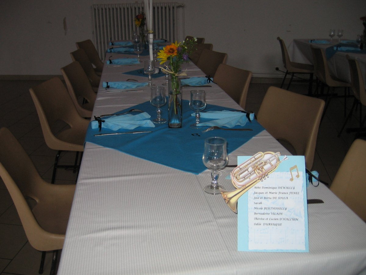 Les tables sont désignées par des instruments de musique