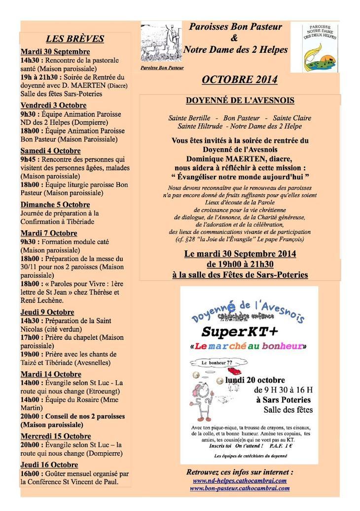 VIE PAROISSE OCTOBRE 2014R