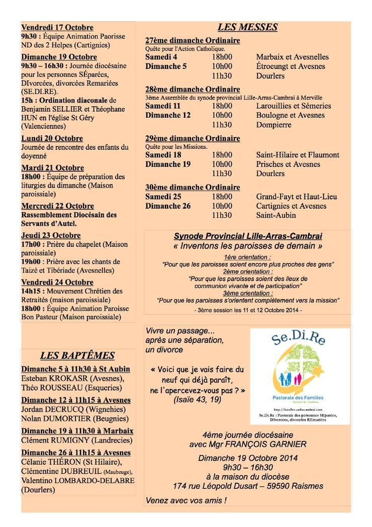 VIE PAROISSE OCTOBRE 2014V
