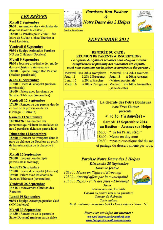 VIE PAROISSE SEPTEMBRE 2014-R