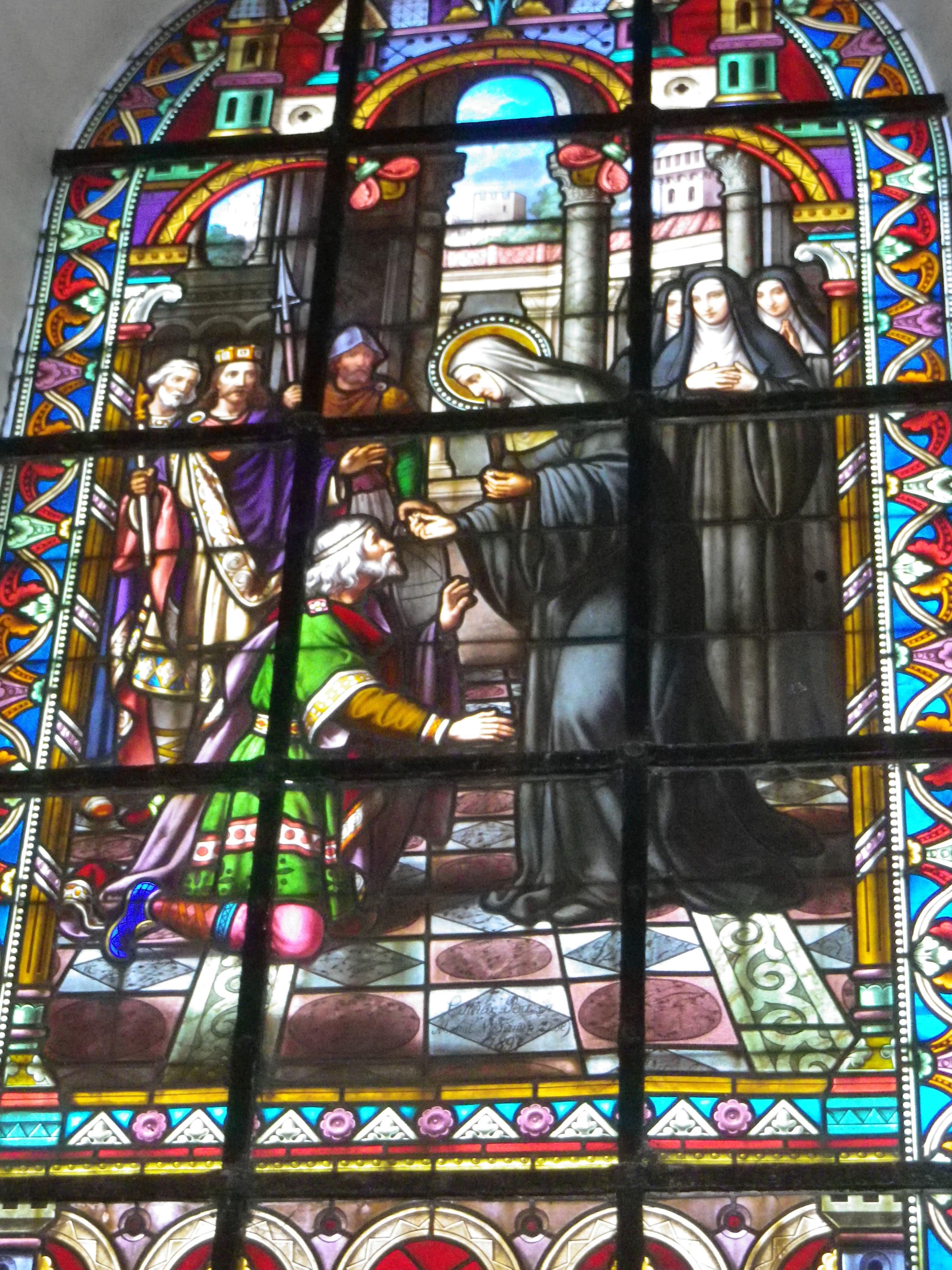 Ruodgaire demande l'intercession de Berthe pour recouvrer la vue, qu'il avait perdue en calomniant Berthe. Cette scène symbolise le repentir de cet officier du roi mérovingien Thierry III.