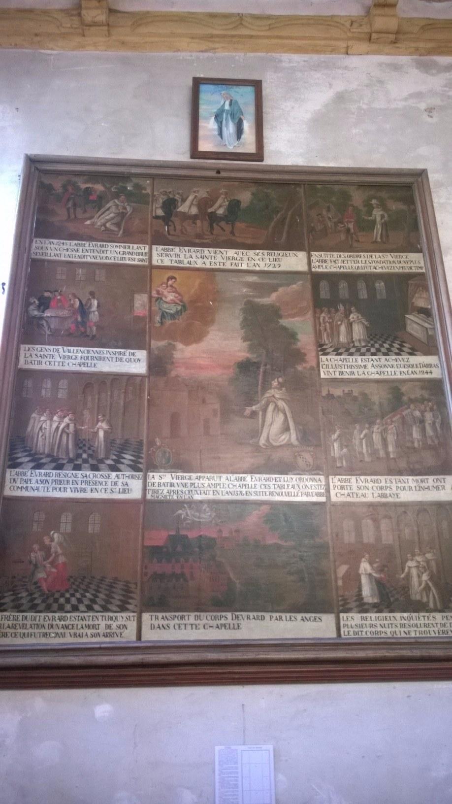 tableau retraçant l'histoire de Notre-Dame de Malaise
